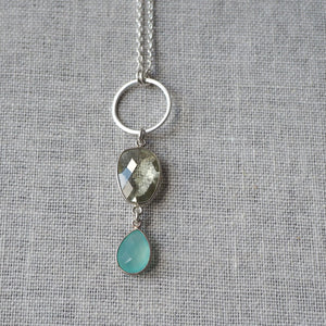 Green Amethyst and Aqua Chalcedony Long Necklace