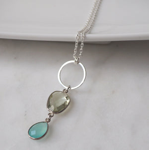 Gemstone Pendant Necklace on Sterling Silver Long Chain