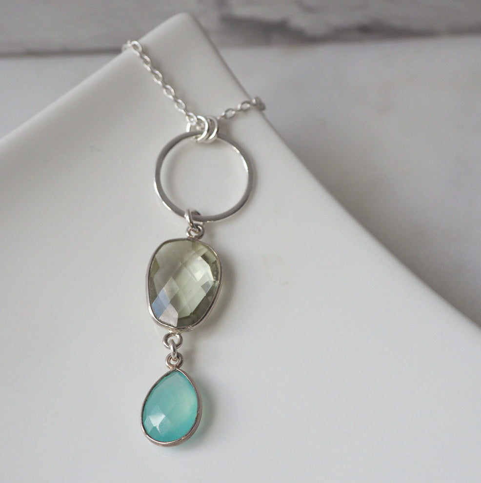 Long Gemstone Necklace with Green Amethyst and Silver