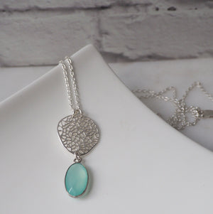 Chalcedony Gemstone Pendant and Sterling Silver Chain