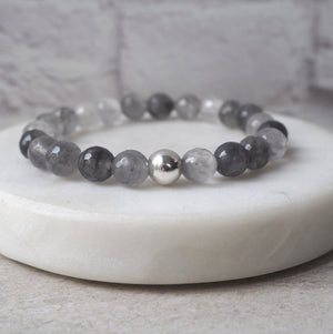 Grey Quartz Gemstone Bracelet by Wallis Designs