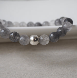 Grey stone stretch bracelet with sterling silver