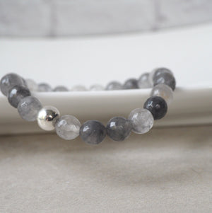 Gorgeous grey gemstone bracelet with Grey Quartz