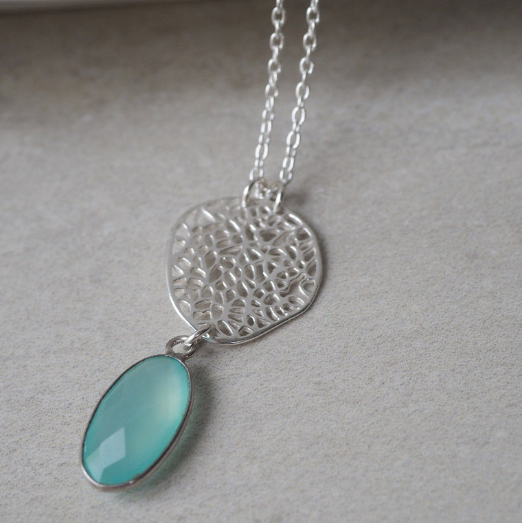 Long Necklace with Aqua Chaledony by Wallis Designs