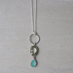 Long Sterling Silver Necklace with Gemstone Pendant