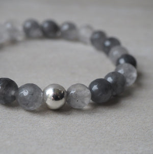Stretch Stone Bracelet with Sterling Silver and Grey Quartz