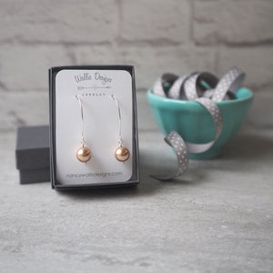 Rose Gold Pearl earrings by Wallis Designs in Canada