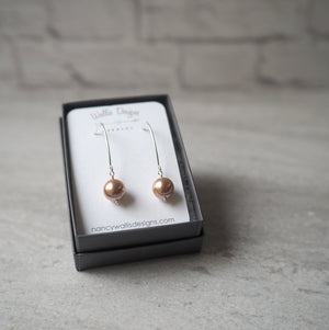 Rose Gold Pearl and Silver Earrings by Nancy Wallis Designs