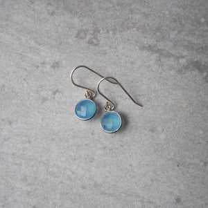 Blue Chalcedony Silver Earrings by Wallis Designs