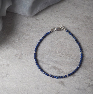 Delicate Gemstone Bracelet with Lapis Lazuli and Silver
