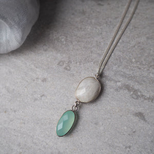Long Gemstone Necklace Moonstone and Aqua Chalcedony