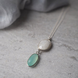 Moonstone and Chalcedony Gemstone Necklace by Wallis Designs