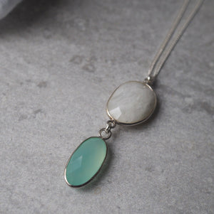 Long Silver Necklace with Moonstone and Chalcedony