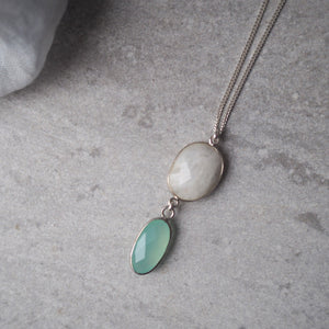 Sterling Silver Long Necklace with Moonstone and Chalcedony
