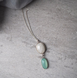 Long Silver Gemstone Necklace by Nancy Wallis Designs
