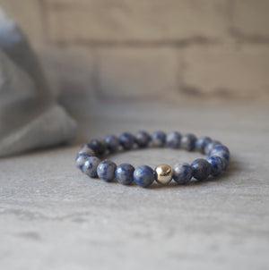 Denim Blue Jasper Gemstone Bracelet by Wallis Designs