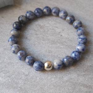 Blue Jasper Bracelet Stretch Gemstone Jewelry Wallis Designs