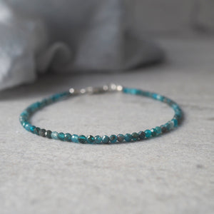 Delicate gemstone bracelet with Apatite and Sterling Silver