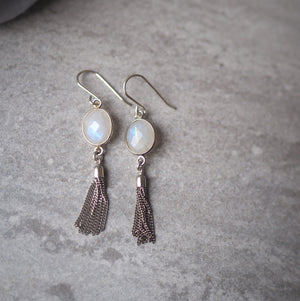 Moonstone Tassel Silver Earrings by Wallis Designs