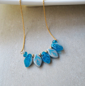 Blue Leaf Beaded Necklace made in Canada by Wallis Designs