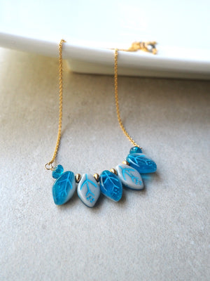 Delicate Blue Leaves Necklace by Nancy Wallis Designs
