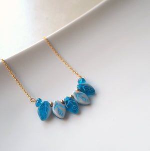 Delicate Blue Leaf Necklace with 14K Gold Filled Chain
