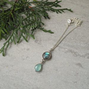 Labradorite and Chalcedony Gemstone Necklace