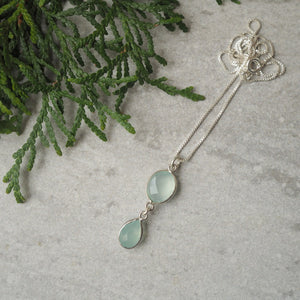 Aqua Chalcedony Double Gemstone Necklace