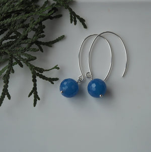 Sterling Silver Earrings with Blue Agate made in Canada