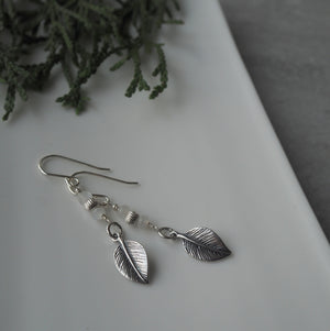 Silver Leaf Earrings with Moonstone by Wallis Designs