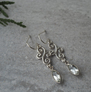 Green Amethyst drop Sterling silver Earrings
