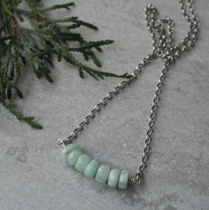 Amazonite Bar Necklace in sterling Silver by Wallis Designs