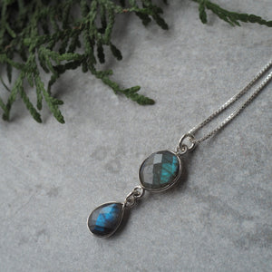 Labradorite Drop Gemstone Necklace