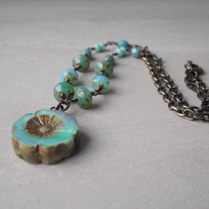 Turquoise Blue Beaded Necklace with Brass Chain