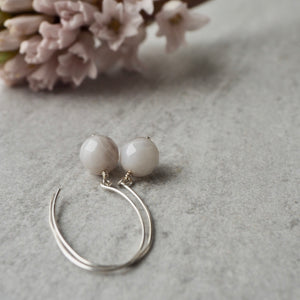 Modern Sterling Silver Earrings with Grey Agate