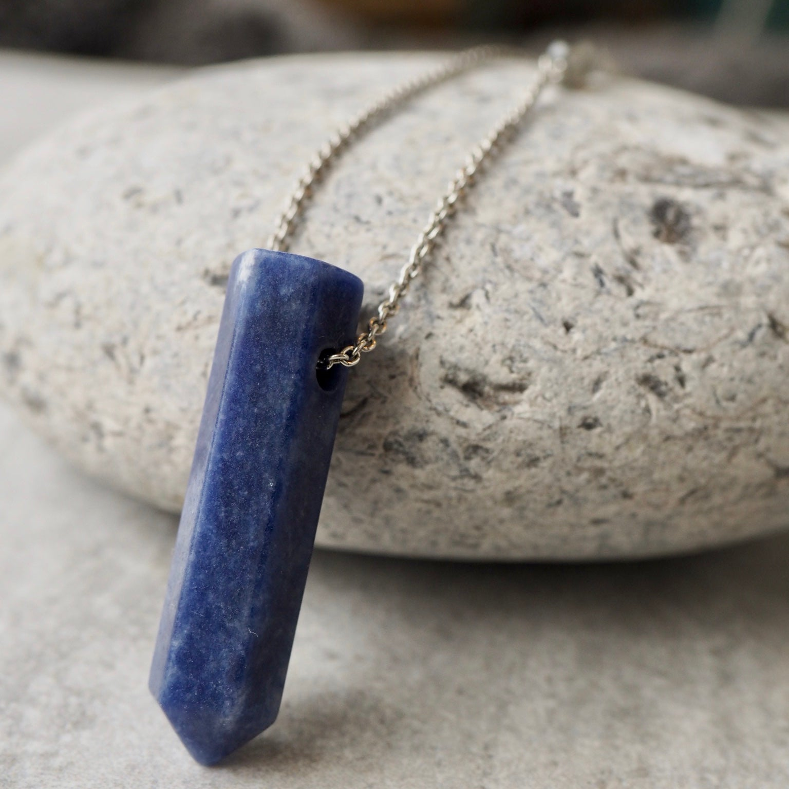 Navy Blue Gemstone Pendant Necklace by Wallis Designs
