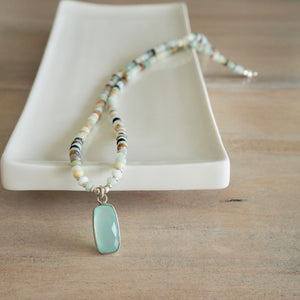 Amazonite Semi Precious Bead Necklace with Chalcedony