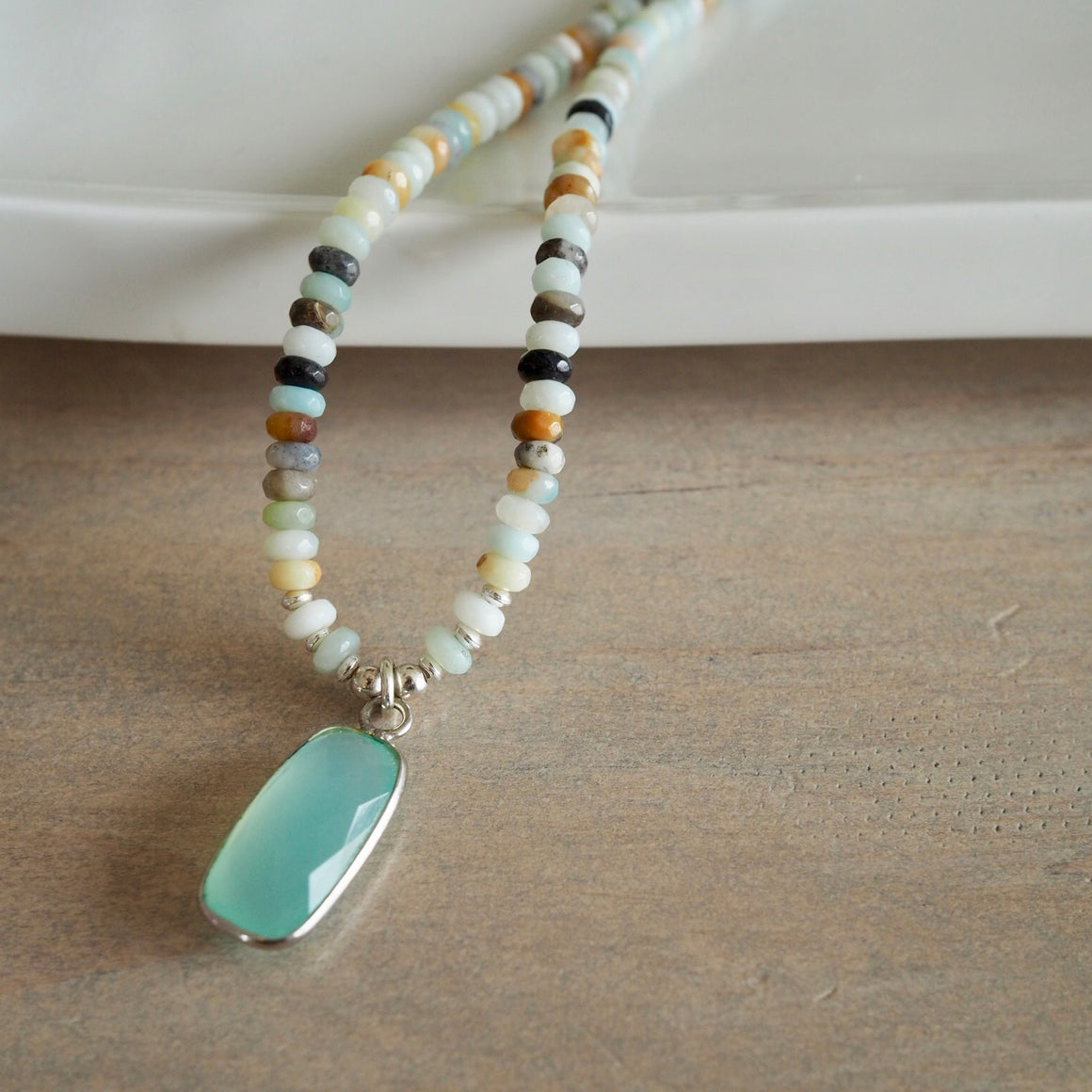 Amazonite and Aqua Chalcedony Gemstone Necklace
