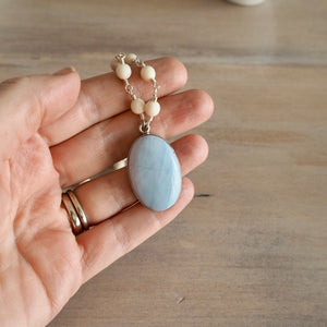 Blue Lace Agate Sterling Silver Pendant and Riverstone
