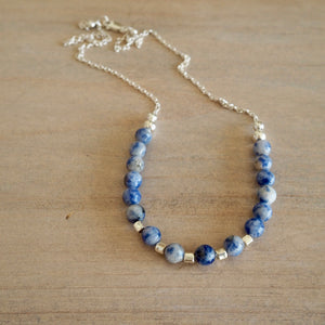 Blue Jasper Sterling Silver Necklace by Wallis Designs