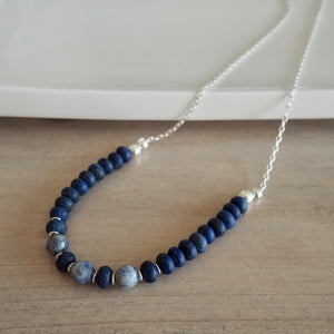 Navy Blue Gem Necklace with Lapis Lazuli and Blue Jasper