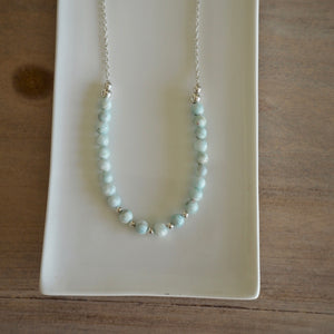 Sterling Silver Necklace with Hemimorphite by Wallis Designs
