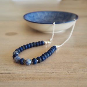 Navy Blue Gemstone Necklace made in Canada by Wallis Designs