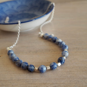 Sterling Silver Necklace with Blue Gemstones by Wallis Designs