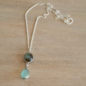 Labradorite and Chalcedony Silver Necklace