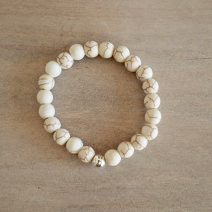 Cream Howlite Stretch Bracelet handmade by Nancy Wallis Designs