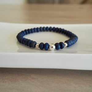 Navy Blue Gemstone Bracelet by Wallis Designs in Canada