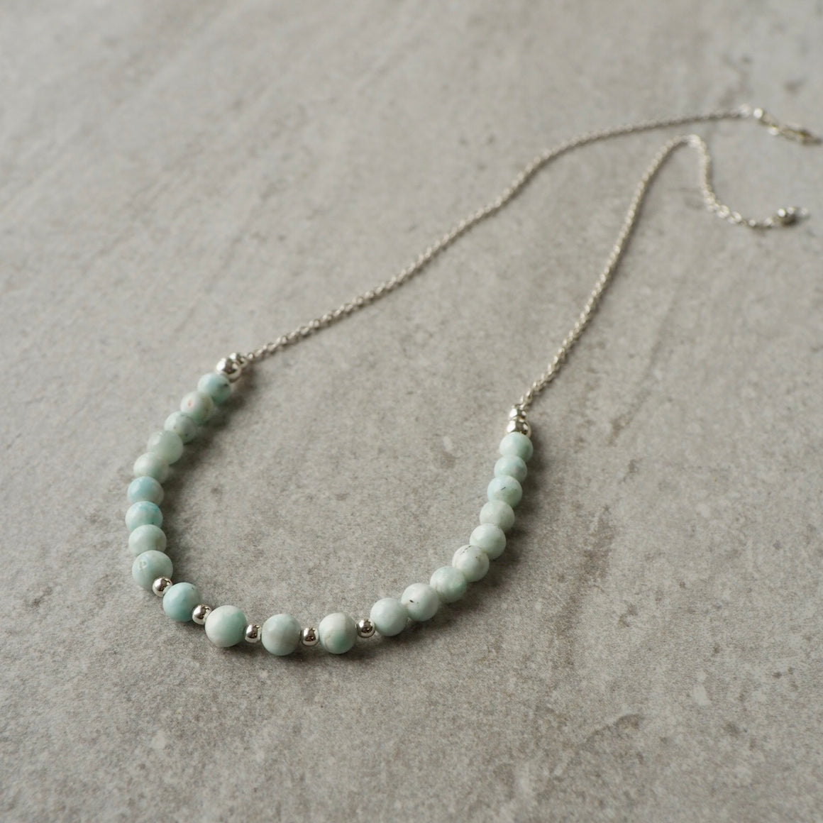 Mint Gemstone Necklace with Sterling Silver Chain