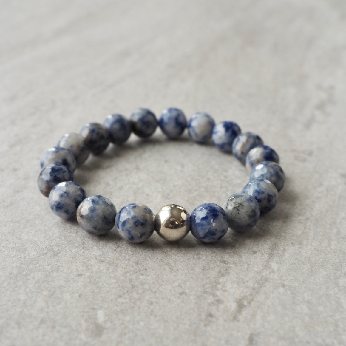 Blue Jasper Stretch Bracelet by Nancy Wallis Designs