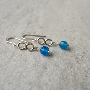 Blue Agate Silver Infinity Earrings made in Canada